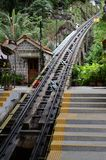 Funicular railway penang. Penang funicular railway track going uphill Royalty Free Stock Photos