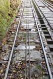 Funicular Railway Tracks in Bridgnorth, Shropshire. Image taken about halfway up the track Stock Image