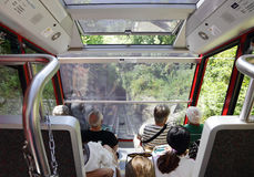 Funicular rialway, also known as an inclined plane or cliff railway Stock Image