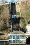 Funicular running up a cliff face Royalty Free Stock Photo