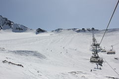 Funicular on the Stubai Glacier Royalty Free Stock Images