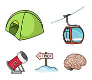 Funicular, tent, road sign, snow cannon. Ski resort set collection icons in cartoon style vector symbol stock. Illustration Stock Photography