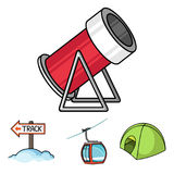Funicular, tent, road sign, snow cannon. Ski resort set collection icons in cartoon style vector symbol stock. Illustration Royalty Free Stock Images