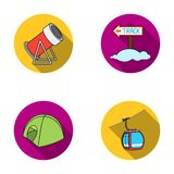 Funicular, tent, road sign, snow cannon. Ski resort set collection icons in flat style vector symbol stock illustration.  Stock Photo