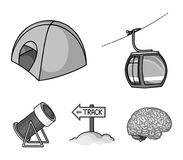 Funicular, tent, road sign, snow cannon. Ski resort set collection icons in monochrome style vector symbol stock. Illustration Royalty Free Stock Photo