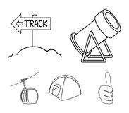 Funicular, tent, road sign, snow cannon. Ski resort set collection icons in outline style vector symbol stock. Illustration Stock Photo