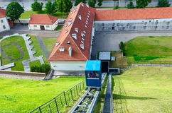 Funicular to the Castle Mountain (Mount Gediminas), Vilnius, Lit Stock Images