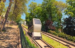Funicular to the famous Basilica of Sacre Coeur, dedicated to Sacred Heart of Jesus. Famous touristic place and travel destination. Paris, France-MAY 06, 2018 royalty free stock images