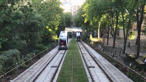 Funicular to the famous Basilica of Sacre Coeur. PARIS, FRANCE, JUNE 06 2017: Funicular to the famous Basilica of Sacre Coeur, dedicated to Sacred Heart of Jesus stock footage