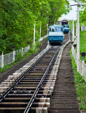 Funicular train rides up to the hill. Funicular train located in Kiev, Ukraine rides up up to the hill Royalty Free Stock Photo