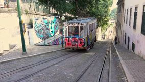 Funicular tram begins its journey back down hill stock video