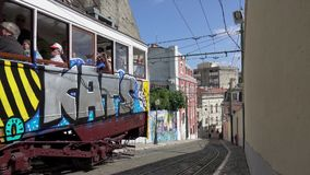 Funicular tram climbs the hill stock video footage
