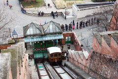 Funicular tram train, Budapest, Hungary Royalty Free Stock Images