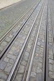 Funicular tramwaju ślad; Rua da Bica De Duarte Belo ulica; Lisbon Obrazy Royalty Free