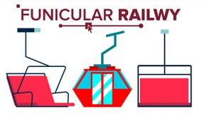 Funicular Vector. Mountain Railway. Ski Cable Car. Isolated Flat Illustration vector illustration
