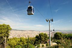 Funicular and view of Barcelona Stock Images