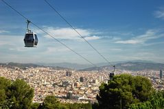 Funicular and view of Barcelona Stock Photos