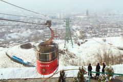 Funicular with the view of the foggy city of Almaty, Kazakhstan Stock Photography