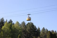 The funicular of yellow color stock photo