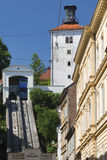 Funicular in Zagreb. The funicular in Zagreb is the shortest in the world. With the Lotrscak Tower behind it, it is one of the most beautiful and popular tourist Royalty Free Stock Photo