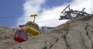 Funiculars του τρόπου παγκόσμιων πιό απότομου καλωδίων σε Rosh Hanikra απόθεμα βίντεο