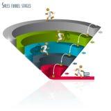 Funil 3d das vendas, gráficos Fotografia de Stock