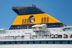 Funil do navio de passageiro com o emblema de Córsega Imagens de Stock Royalty Free