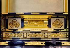 Funiture with with luxury and exquisite decoration pattern. Part of traditional style ark with decoration in gold-plating, shown as color and texture, with Royalty Free Stock Photography