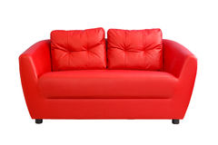 Funiture vermelho do sofá isolado no fundo branco Fotos de Stock Royalty Free