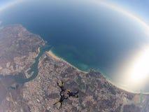 Funjumps que salta em queda livre de 12000 pés Fotografia de Stock Royalty Free
