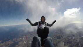 Funjumps skydiving from 12000 feet. Height stock video footage