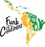 Funk of the continent. Americas southern funk colors with black continent painted yellow and green t-shirt graphic design stock illustration