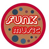 Funk music logo retro style vector illustration