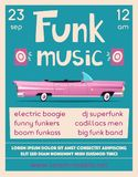 Funk music poster. Cartoon vector illustration Stock Image