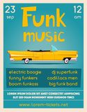 Funk music poster. Cartoon vector illustration. Vintage car. Retro style. Party and festival. For web or print. On wall in clubs, bars, pubs and public places royalty free illustration