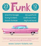 Funk music poster. Cartoon vector illustration Royalty Free Stock Image