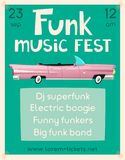 Funk music poster. Cartoon vector illustration. Vintage car. Retro style. Party and festival. For web or print. On wall in clubs, bars, pubs and public places vector illustration