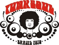 Funk soul Brazil graphic. An artistic illustration with the words funk soul Brazil 1970. Suitable for t-shirt graphic or poster royalty free illustration