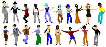 Funk town dancers over white Royalty Free Stock Image