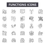 Funkcje wykładają ikony dla sieci i mobilnego projekta Editable uderzenie znaki Funkcja konturu pojęcia ilustracje royalty ilustracja
