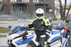 Funkcjonariusz policji na motocyklu Obrazy Stock