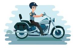 Funkcjonariusz policji na motocyklu ilustracja wektor