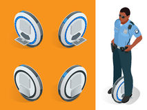 Funkcjonariusz policji na Toczyć równoważenie elektrycznej hulajnoga wektorowych isometric ilustracjach Inteligentny i Zdjęcia Royalty Free