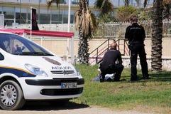 Funkcjonariuszi policji, Malaga, Hiszpania. obrazy stock