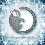 Funkeln-Affedesign des Symbols 2016 des neuen Jahres silbernes, Postkarte, Grußkarte, Fahne Lizenzfreies Stockfoto