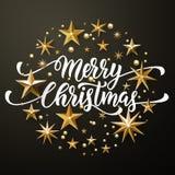 Funkeln der frohen Weihnachten Goldspielt Grußkarte die Hauptrolle lizenzfreie abbildung