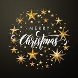 Funkeln der frohen Weihnachten Goldspielt Grußkarte die Hauptrolle vektor abbildung
