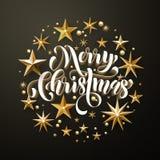 Funkeln der frohen Weihnachten Goldspielt Grußkarte die Hauptrolle stock abbildung