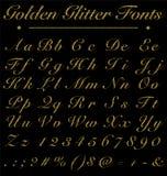 Funkeln-goldene handgeschriebene Güsse, Alphabet, Zahl auf Schwarz-Rückseite Stockfotos