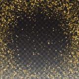 Funkeln-Goldpartikel-Rahmen-Effekt für Luxuskarte Heller goldener Schimmer-glühende Partikel Fallende goldene Konfettis Lizenzfreies Stockfoto